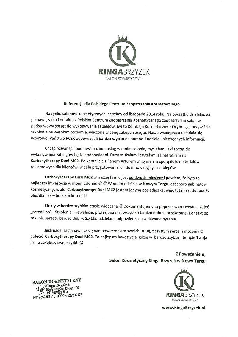 Referencje - Kinga Brzyzek