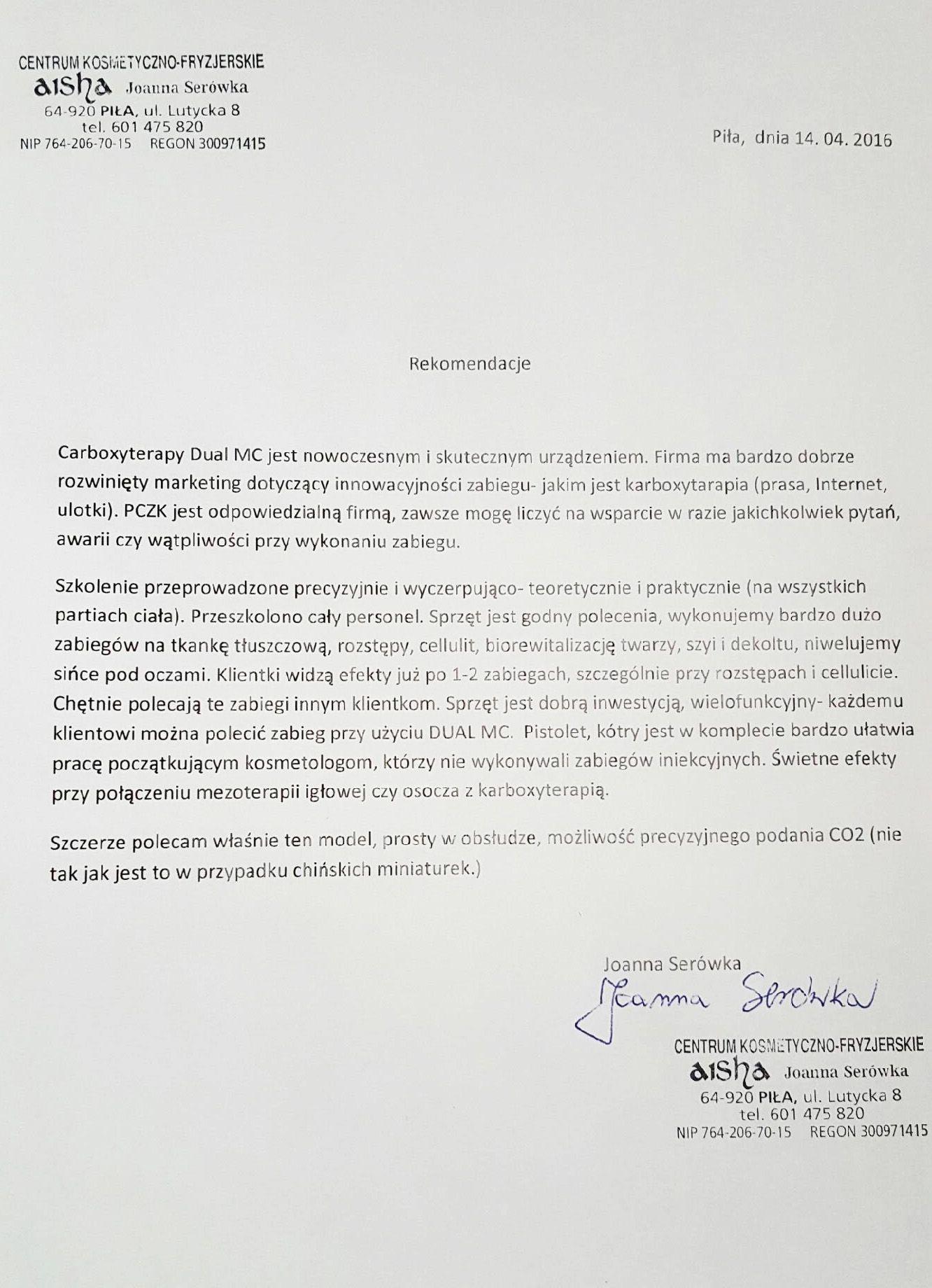 Referencje - Joanna Serówka