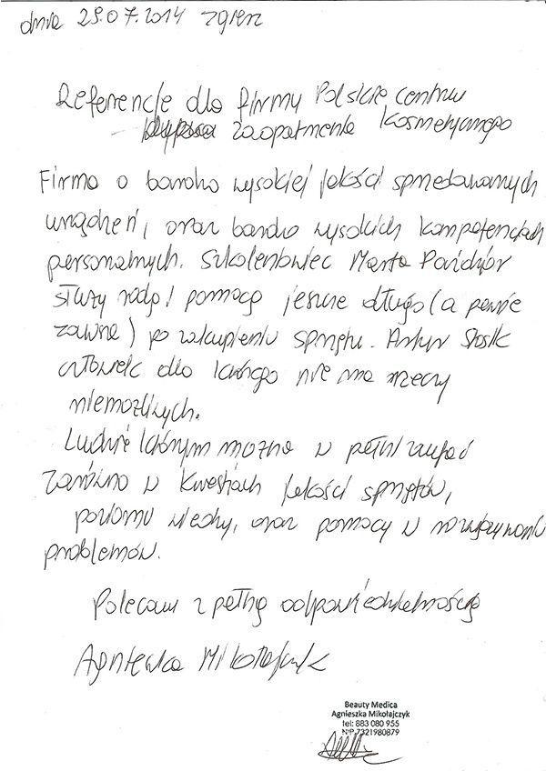 Referencje - Agnieszka Mikolajczyk