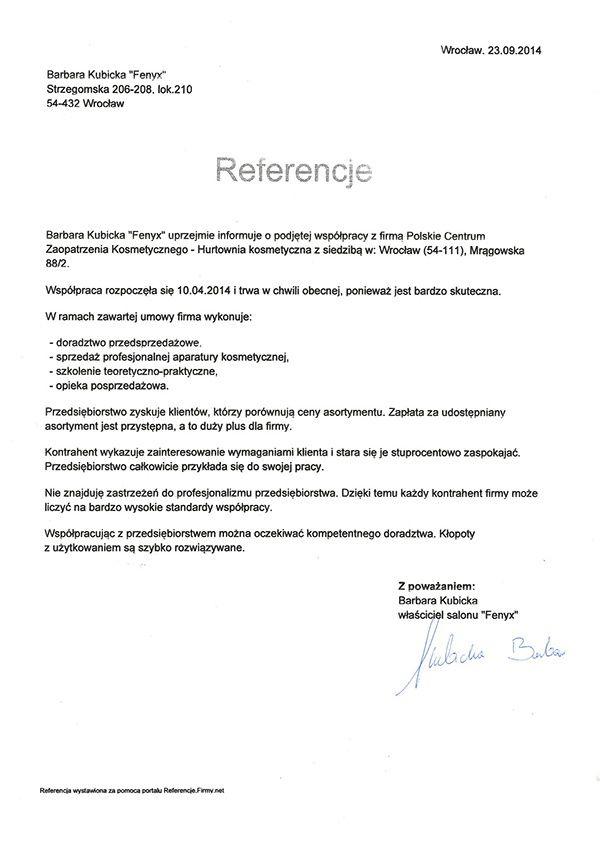 Referencje - Barbara Kubicka