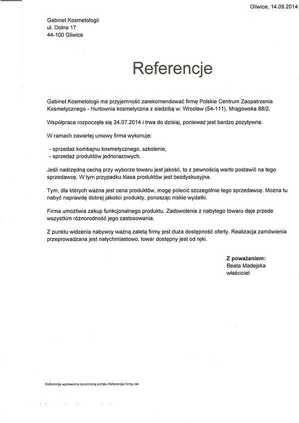 Referencje - Beata Madejska