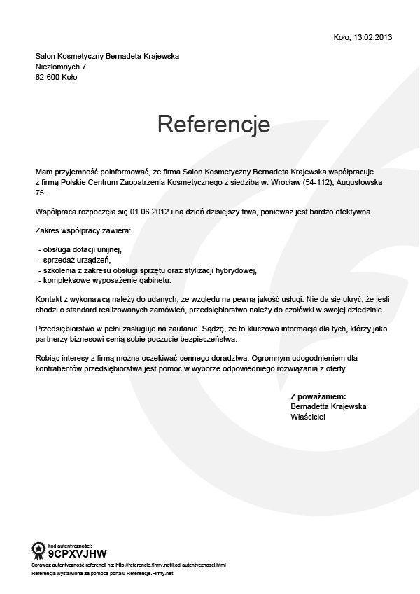 Referencje - Bernadetta Krajewska