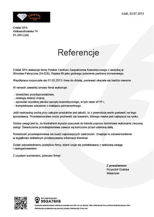 Referencje - Krzysztof Ozdoba