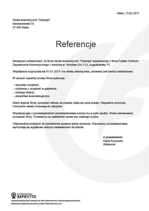 Referencje - Edyta Kozuszko