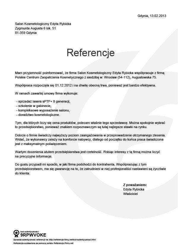 Referencje - Edyta Rybicka