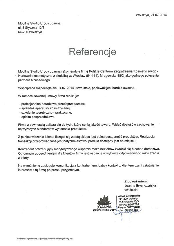 Referencje - Joanna Brychczynska