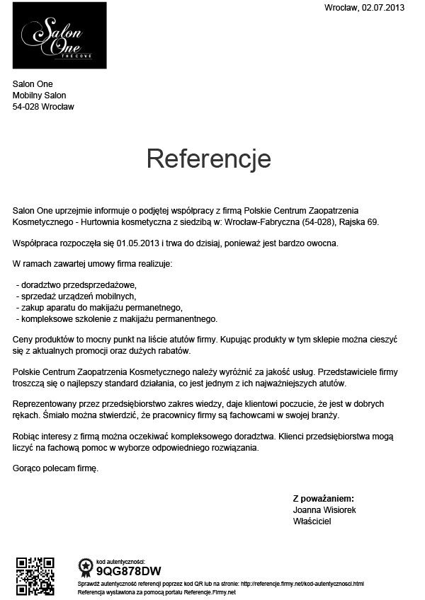 Referencje - Joanna Wisorek