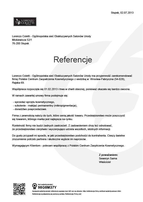 Referencje - Lorenzo Coletti