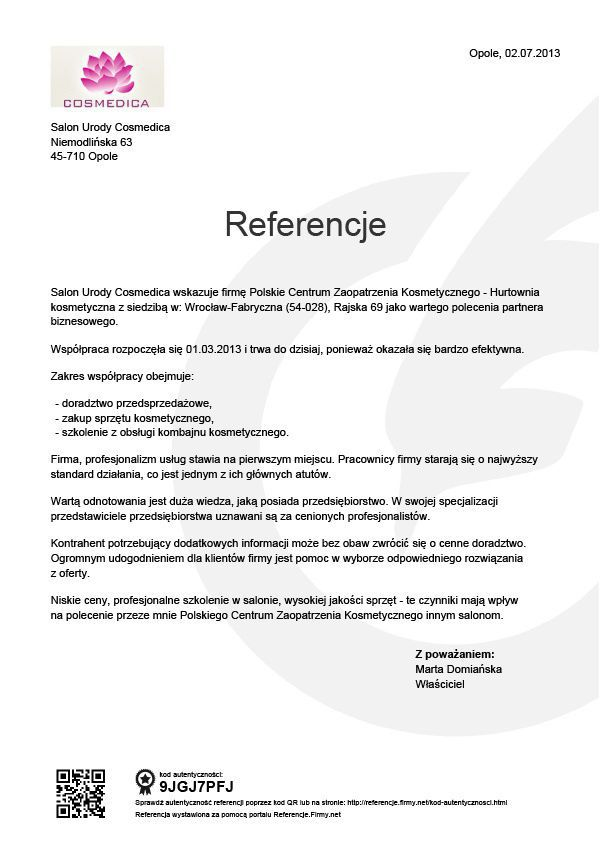 Referencje - Cosmedica