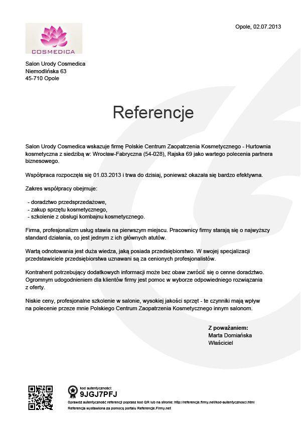 Referencje - Cosmedica
