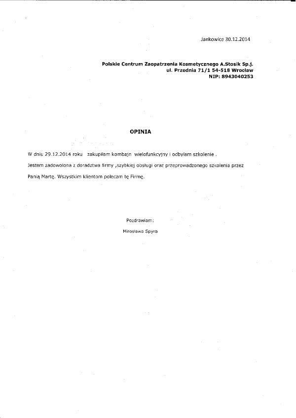 Referencje - Miroslawa Spyra