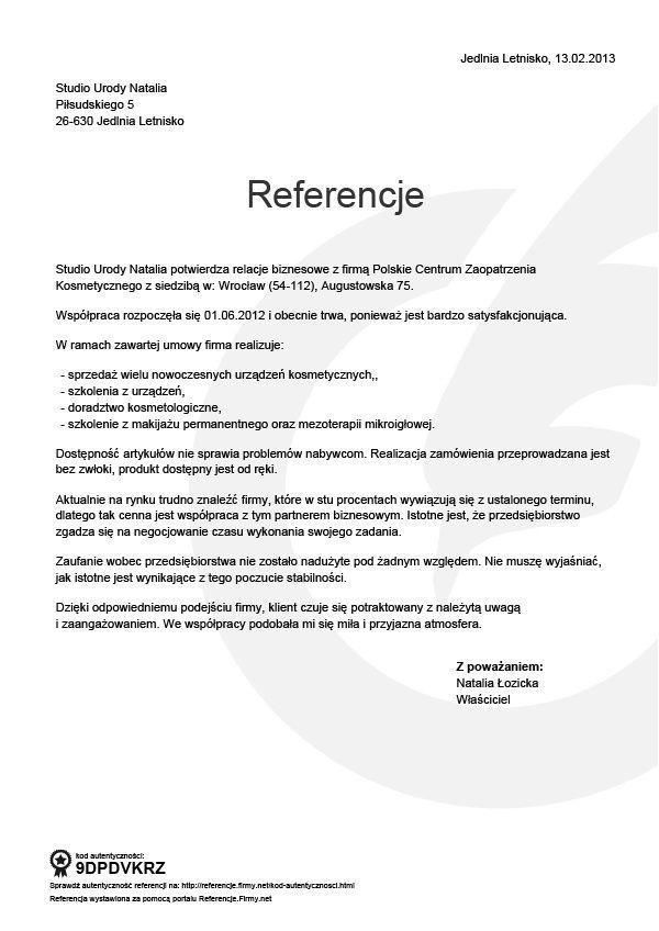 Referencje - Natalia Łozicka