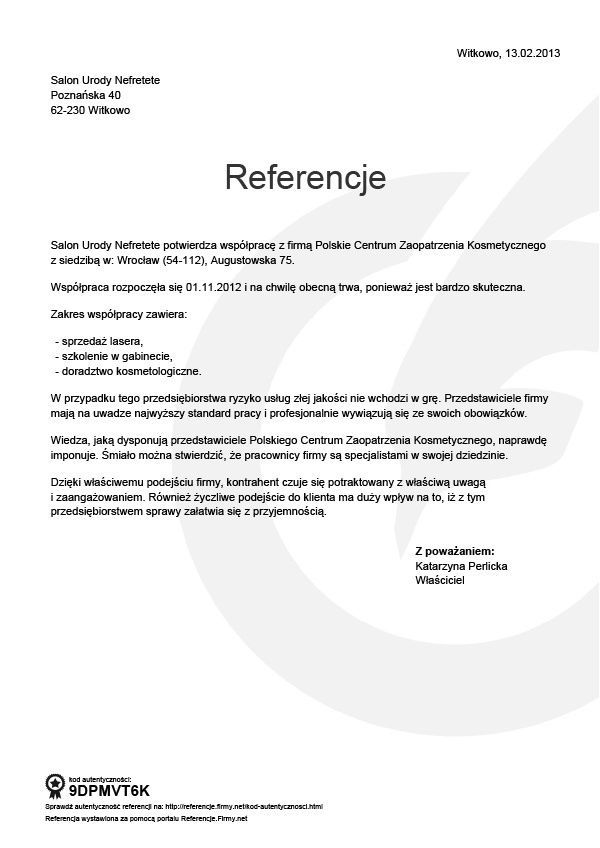 Referencje - Katarzyna Perlicka