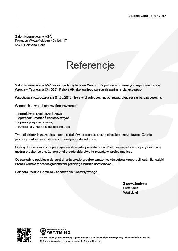 Referencje - Piotr Śnita