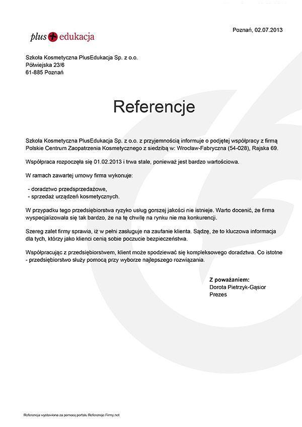 Referencje - Plus Edukacja