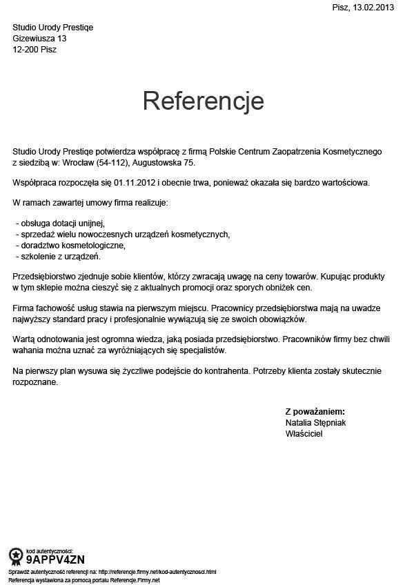 Referencje - Natalia Stepniak