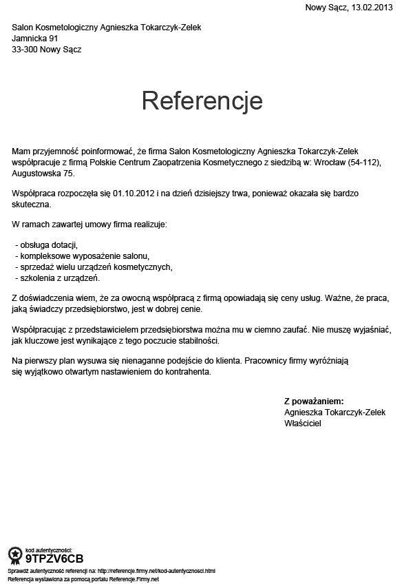 Referencje - Tokarczyk-Zelek